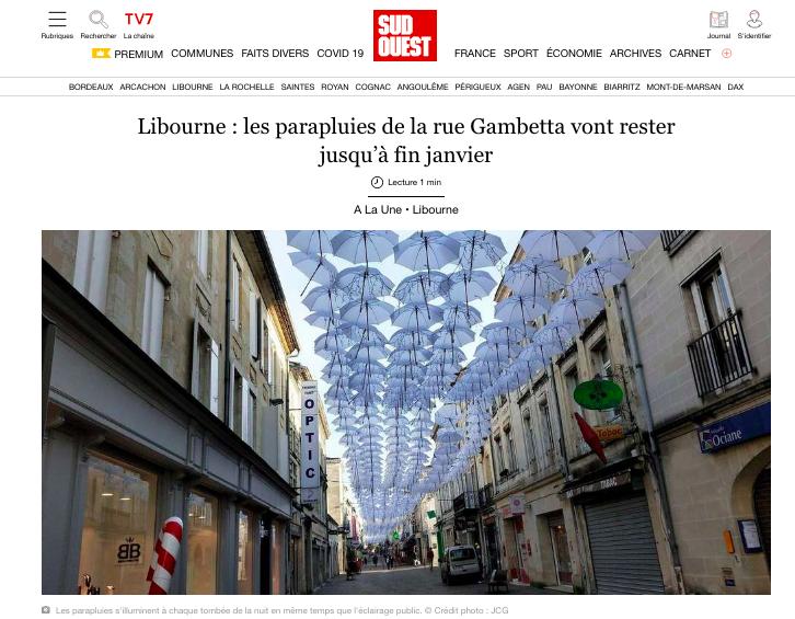 Libourne: os guarda-chuvas da Rue Gambetta vão ficar até ao final de janeiro 1